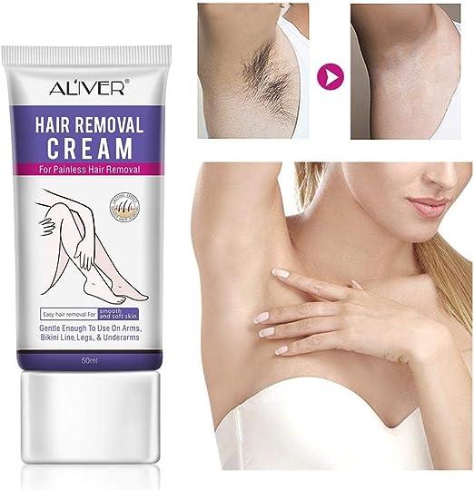 Crema depilatoria para eliminar el cabello, fórmula sensible a la piel, sin dolor natural para mujeres y hombres, 50 ml: Amazon.es: Belleza