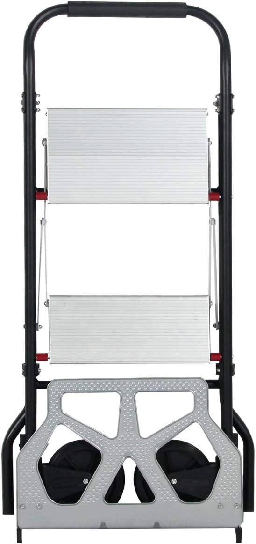 DlandHome Vielseitiger Sackkarre /& 2 Stufen Leiter Stepladder 2 in 1 Tritthocker Faltbarer Mehrzweck Rollwagen Handkarren Transportwagen mit Gummizug