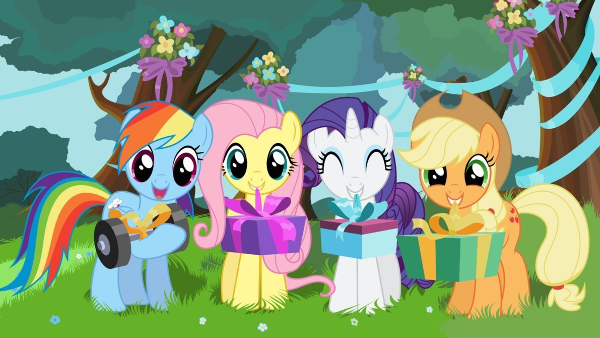 My Little Pony Rainbow Dash Applejack Rarity Fluttershy Edible Cake Topper Frosting 1/4 Sheet Birthday Party