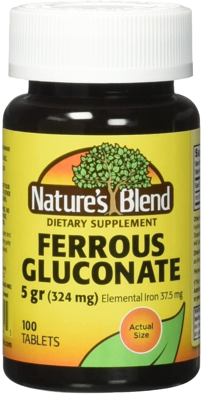 Nature`s Blend Ferrous Gluconate Tablets 324 mg, 100 Count (Pack of 2)