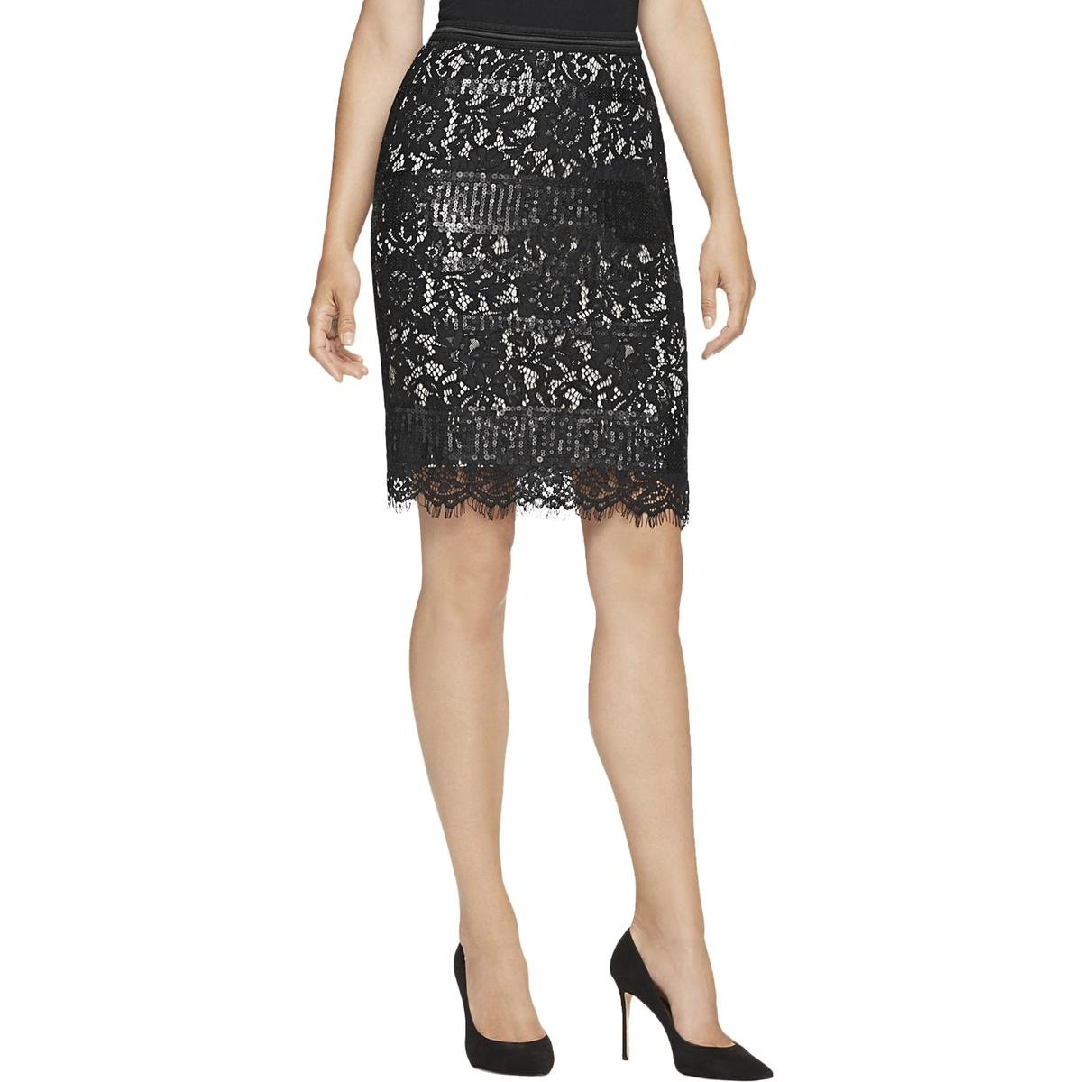 Elie Tahari Womens Sequined Lined Pencil Skirt Black 4