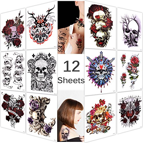 Lady Up 12 Sheets Temp Body Art Temporary Tattoos Fake Tattoo for Women Men Kid Biker Sugar Skull Flower Rose Pattern Waterproof -