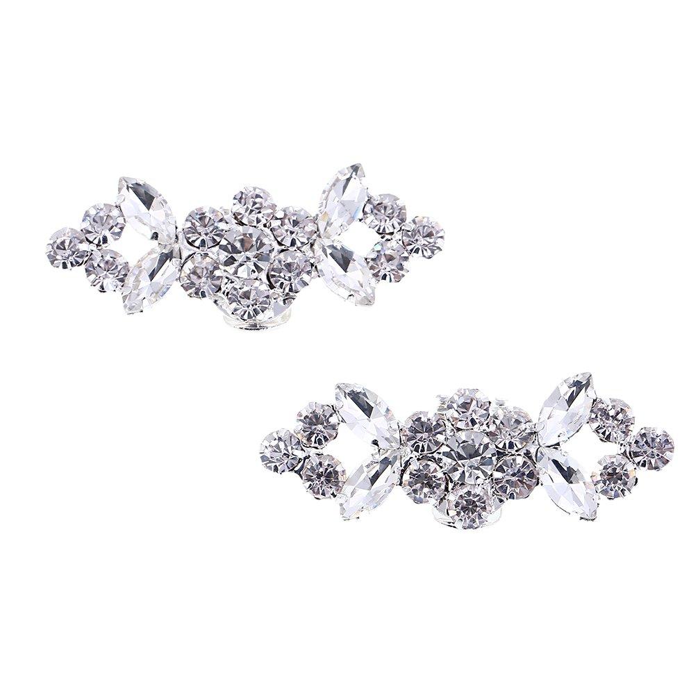 Kesheng 2pcs Crystal Shoe Clips with Rhinestones Shoe Embellishments for Wedding Party Decoration