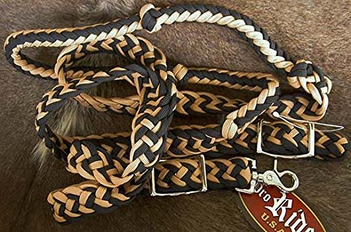 Roping Knotted Horse Tack Western Barrel Reins Nylon Braided Tan 60721
