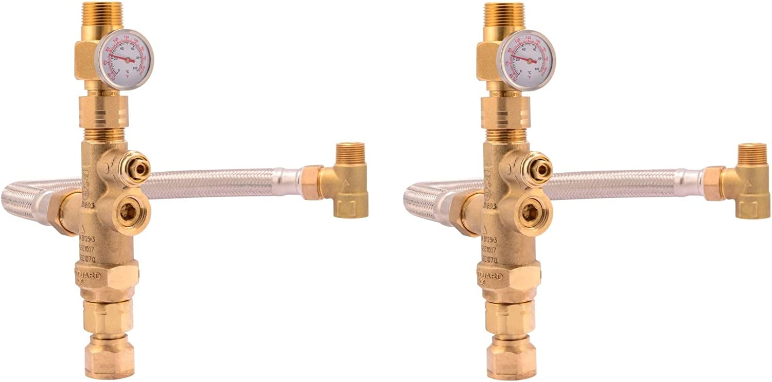 Cash Acme Water Heater Tank Booster Pro Thermostatic Mixing Valve 3 4 With Temperature Gauge Braided Hose Domestic And Commercial Application Pack Of 2 Heating Elements Amazon Canada
