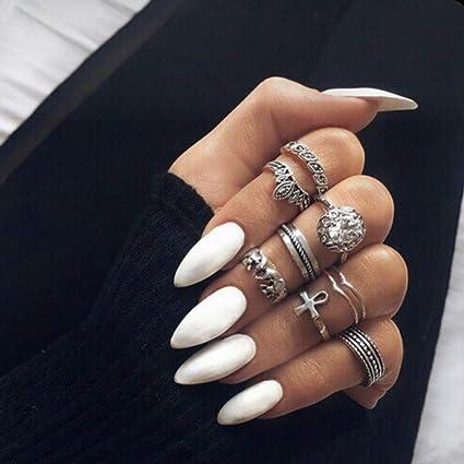 Qulin uñas postizas con punta blanca con diseño minimalista ...
