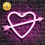Neon Sign, Arrow Wall Decor Light, Heart Neon Sign, Cupid's Love Neon Sign, Neon Words for Home Bedroom Room Decor Bar Beer Office for Party Holiday Wedding Decoration Sign (Pink Love&Cupid Design)