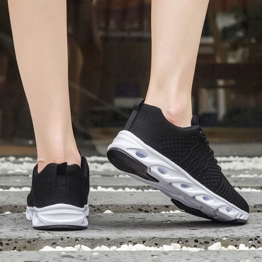DEELIN Femme Chaussures Léger Respirant Mesh Chaussures De Course Mode Sauvage Antidérapant Laçage Baskets Femmes Casual Plateforme Chaussures Sport Chaussures Blanc Noir