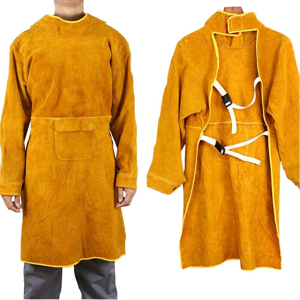 tablier en cuir Kamenda Tablier de soudage avec manches cuir de vache et soudure r/éfractaire avec taille r/églable 85 cm