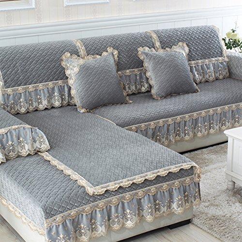 Sofa cushions,european plush fabric sofa cover,simple modern non-slip leather sofa cushion-F 70x150cm(28x59inch) (5569 Slip)