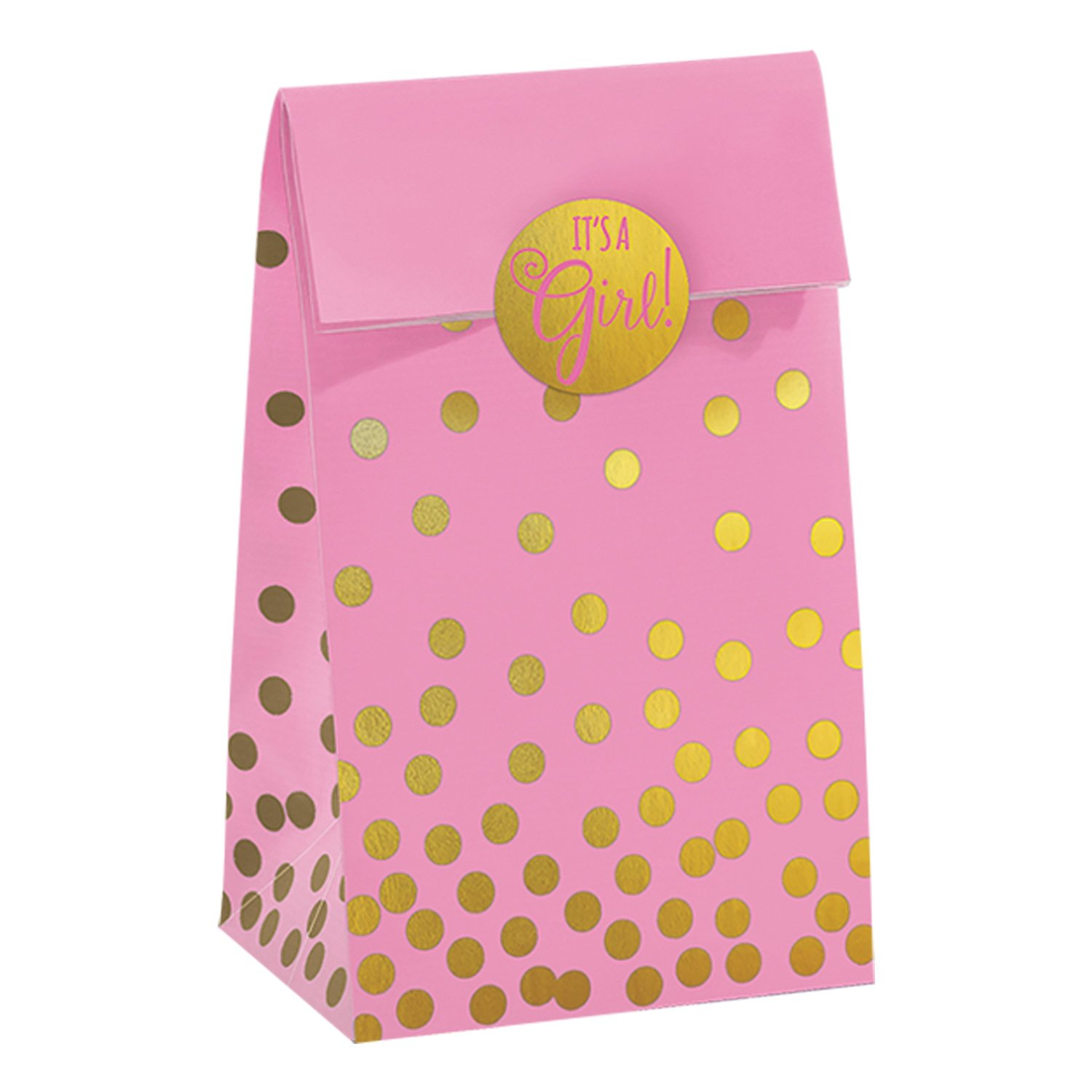 Pink Amscan 380093 Baby Shower Foil Stamped Bags w//Stickers