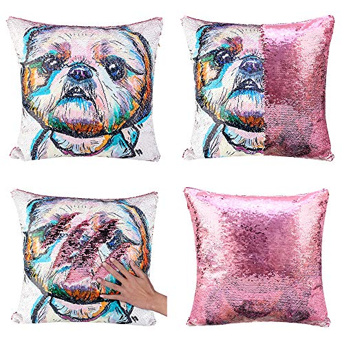 Merrycolor Shih Tzu Dog Sequin Pillow Cover Cute Pet Puppy Mermaid Throw Pillow Case Dog Lover Gifts for Women Decorative Cushion Pillow Cover (B Shih Tzu Dogs-Light Pink Sequins)