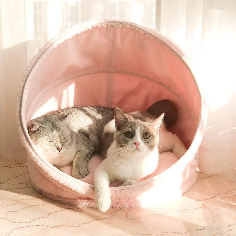 CLEAVE WAVES Cat Pet Bed Soft Indoor Enclosed Covered Pink Tent House for Cats, Kittens, and Small Pets with Removable Cushion Mat Inside and Waterproof Base colorful Dots Non-slip Washable