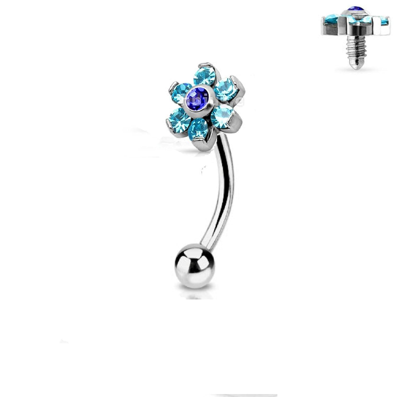 Amazon.com: Jeweled Twin Daisy Flowers Spinal Barbell Christina ...