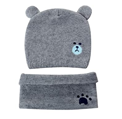 db79f3929 Ziory 2Pcs Grey Winter Bear Kids (1-1.5 yr) Baby Hats Lovely Infant Toddler  Girl Boy Beanie Cap Warm Baby Hat+ Knitted Scarf Set Earflap Caps for ...