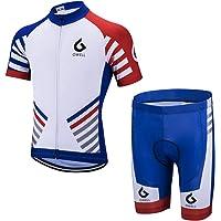 GWELL Herren Radtrikot Set Fahrrad Trikot Kurzarm + Radhose mit Sitzpolster Radsport-Anzüge