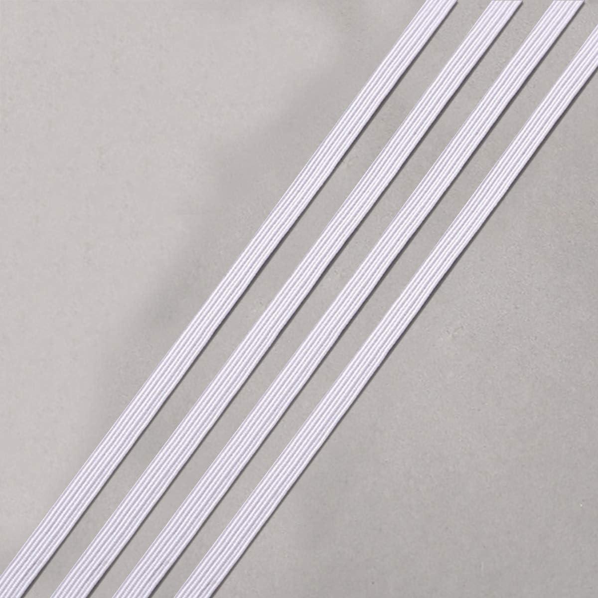 Bobina de El/ástico Blanco Rollo de Banda El/ástica Pesada Cuerda El/ástica para Costura y Tejer 3mm Cinta El/ástica de 144 Yardas 130m Blanco, 3mm*130m