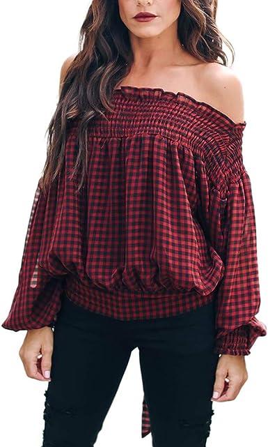 YGbuy Cuello De Palabra para Mujer con Hombros Descubiertos Y Manga Larga con Lazo A Cuadros Camiseta Superior Camisa Casual para Mujer Camiseta De Gran TamañO para NiñAs Camisa Polo: Amazon.es: Ropa