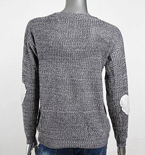 Lvrao Patch Manica Autunno Maglieria Lunga Pullover Inverno Caldo Maglione Knitted Felpa Manicotto Grigio Donna Hearted Maglia Maglioni r8txwqFrB