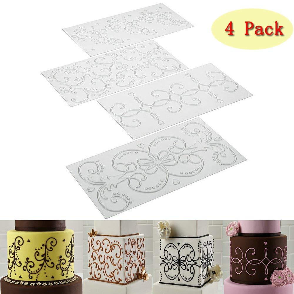 (Set of 4)Sakolla Cake Fondant Impression Mat Mold Baroque Style Curlicues Scroll Lace Fondant Imprint Mats Plastic Cake Decorating Supplies for Cupcake Wedding Cake Decoration Tools