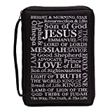 Black Names of Jesus 9 x 11.5 Embroidered Polyester Bible Cover Case with Handle