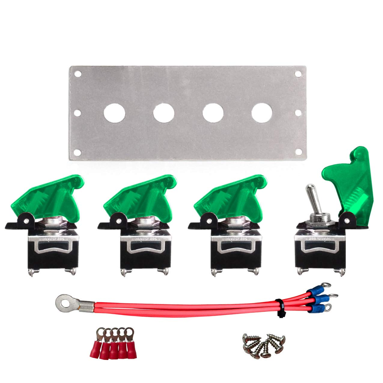 Green MGI SpeedWare 4 Gang Metal Toggle Switch Panel Safety Flip Covers