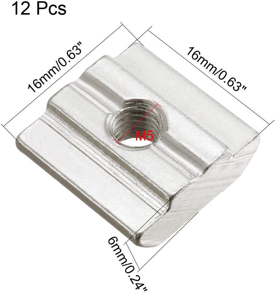 sourcing map 12Stk T-Mutter f/ür 3030 Serie Aluminium Profil Schieben M5 Gewinde