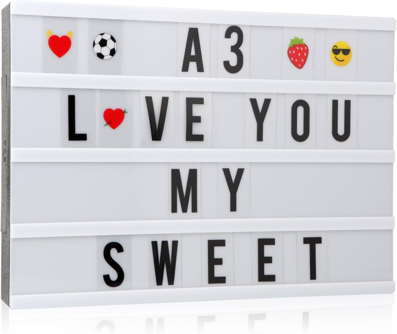 Caja de luz cinemática con 150 letras, números y emoticonos, tamaño A3, señal de cine con mensaje LED para decoración: Amazon.es: Iluminación