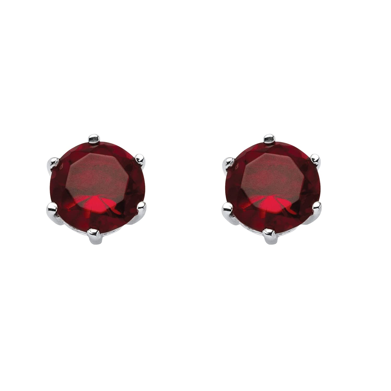 Sterling Silver Round Simulated Birthstone Prong Set Stud Earrings Simulated Ruby - July 9x10mm