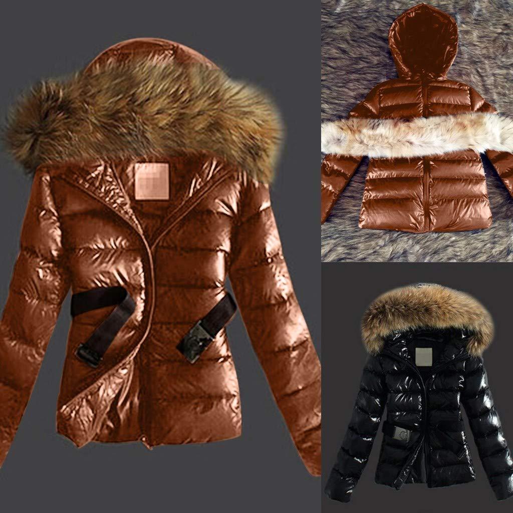 2019 Hiver Manteau Femmes Chaud, SANFASHION Veste Col Capuche Fourrure Fausse Manteaux Polaie Chaud Slim Blouson Manteaux Vintage Mode Chic Q- Marron