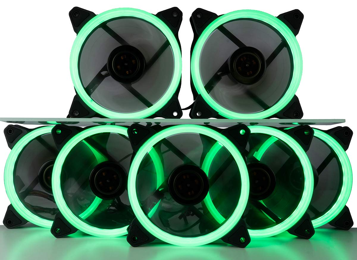 CUK 7-Pack Green Halo Ring 120mm LED Vibrant Color Computer Case Fan for CPU Coolers and Radiators - High Airflow 45 CFM & Anti-Vibration Pads