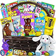 Large Easter Basket for Kids and Adults 30ct - Already Filled Easter Gift Basket with Plush Easter Bunny, Chocolate, Candy, and Toys - Boys, Girls, Grandchildren, Young Children, Toddlers, Men, Women