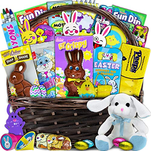 (Large Easter Basket for Kids and Adults 30ct - Already Filled Easter Gift Basket with Plush Easter Bunny, Chocolate, Candy, and Toys - Boys, Girls, Grandchildren, Young Children, Toddlers, Men, Women)