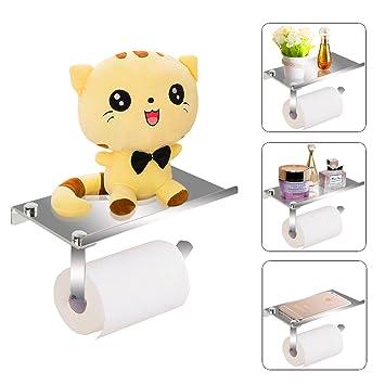 Portarrollos de papel higiénico,Acero Inoxidable de Portarrollos para Almacenamiento el papel higiénico en el Baño y mientras puede soporte teléfono ...