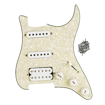 FLEOR Golpeador precableado para guitarra SSH Set para Fender Strat ...
