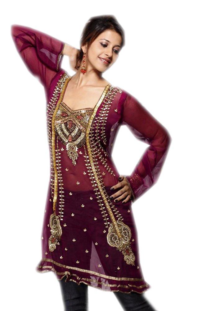 Rose Georgette Tunic Multi Color Stone Work Casual Dress (xxl)