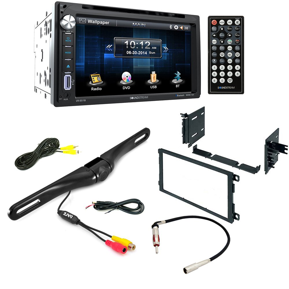 Aftermarket Car Stereo Radio Double DIN In-Dash DVD/CD/AM/FM + Dash Mounting Installation Kit+ Radio Antenna Adapter + Night Vision Rear View Backup Color Camera by Soundstream, American International, Metra, Scosche , Pyle
