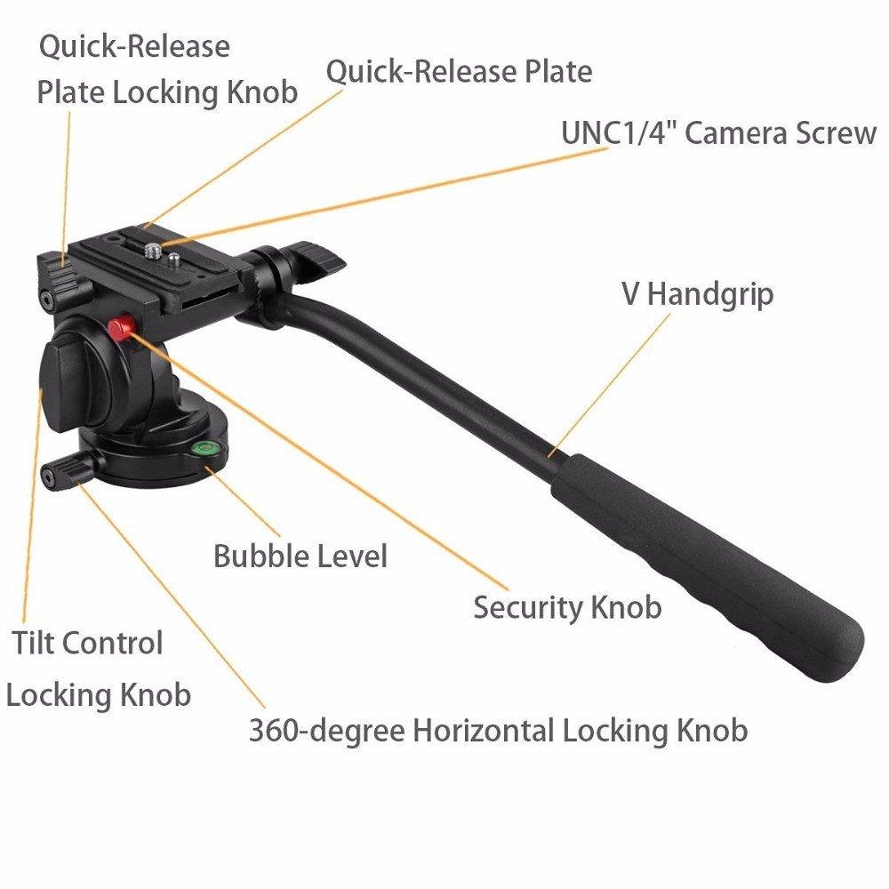 Kingjoy kh-6750/flessibile alluminio treppiede testa fluida video testa treppiedi per Canon Nikon e altre fotocamere DSLR