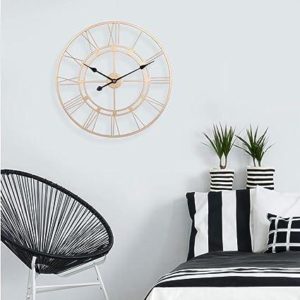 Noir 60x60x5cm fer GODNECE Horloge murale en m/étal vintage 60 cm
