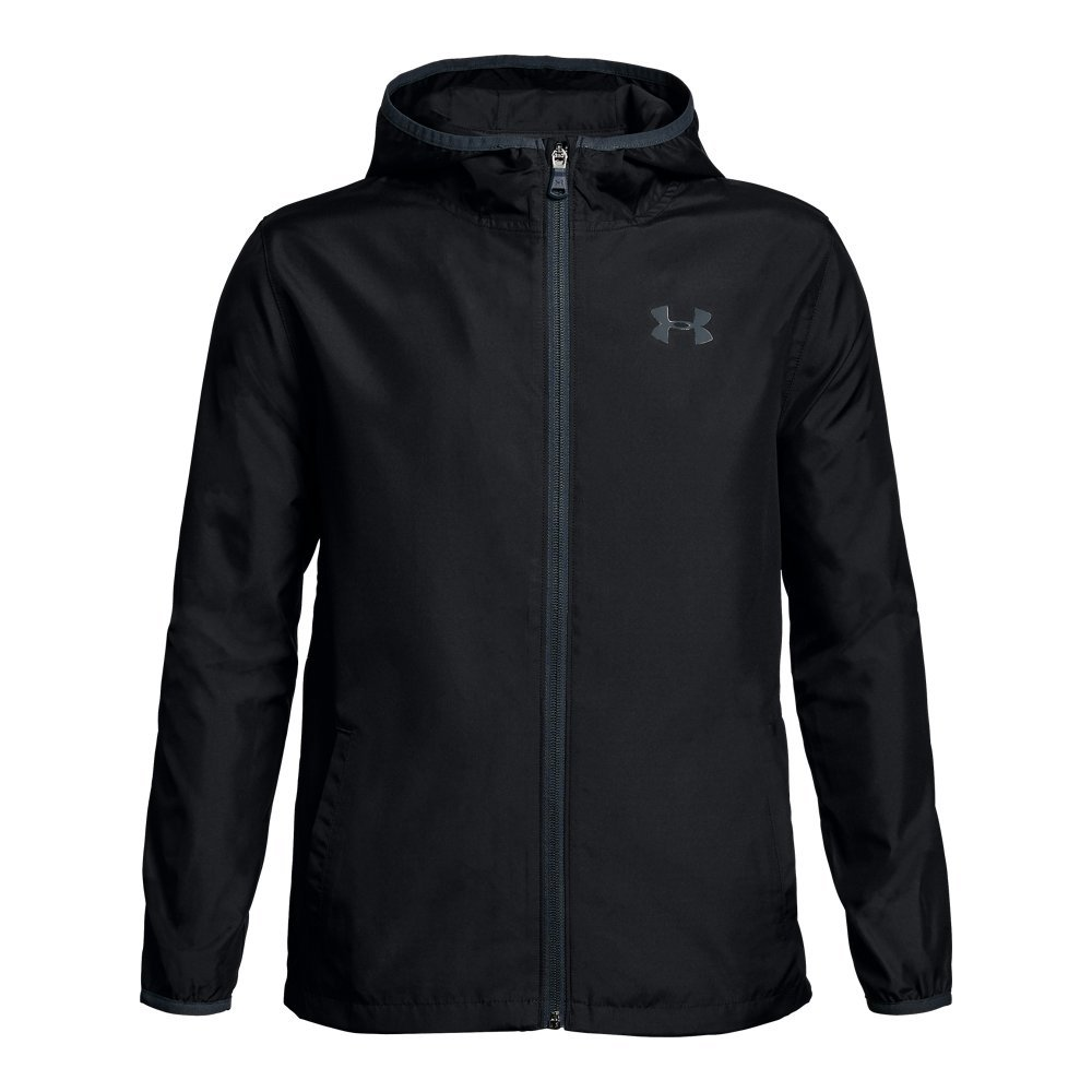 Under Armour Boys' Sackpack Jacket, Black (001)/Red, Youth Medium