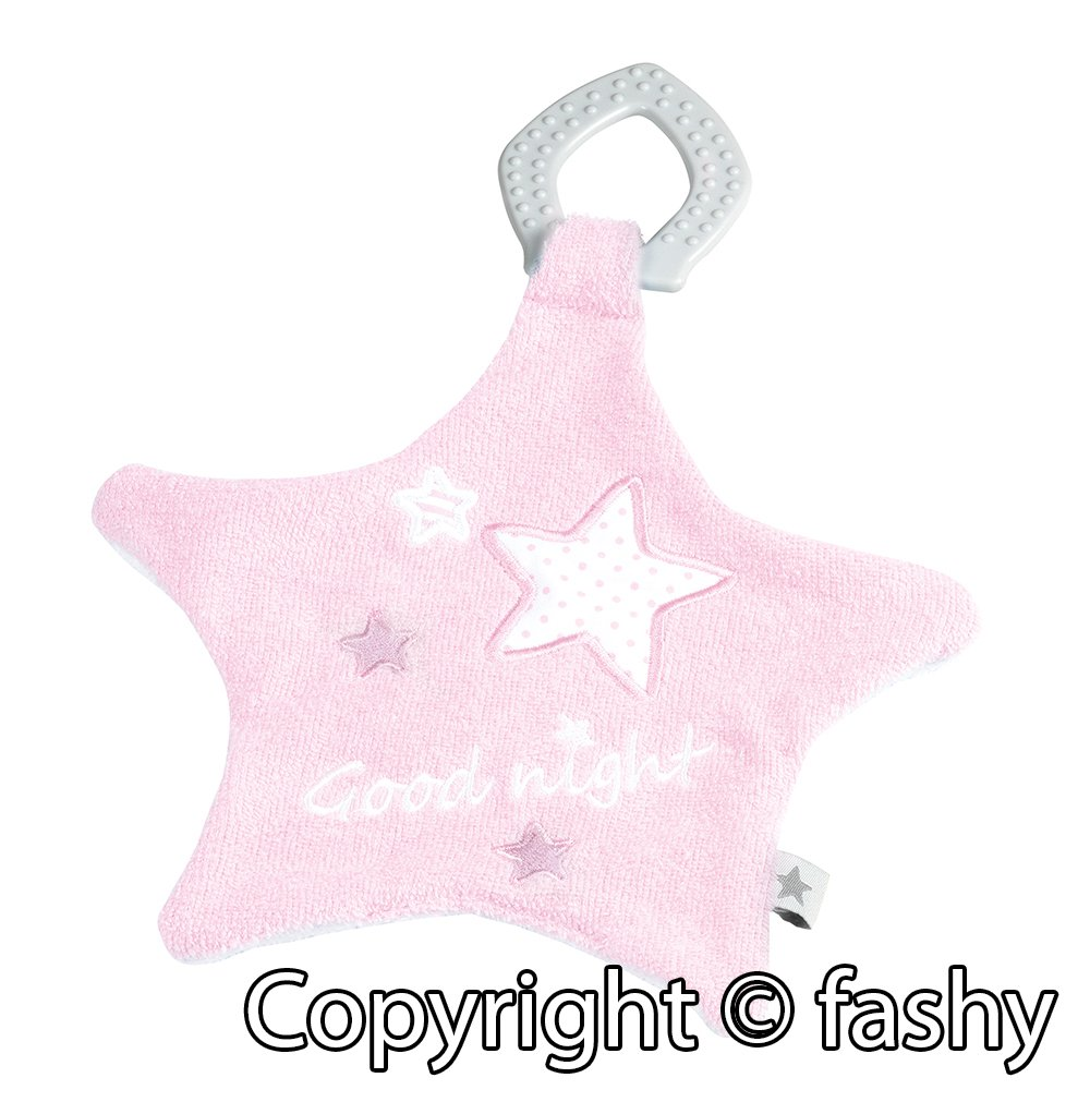 Fashy 1279 Doudou avec anneau de dentition rose ou bleu clair 100 coton rose//blanc