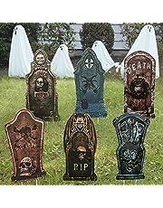 Halloween decoratie grafstenen, rip begraafplaats hofbordjes decor simulatie Halloween grafsteen met paal voor spookhuis tuin, binnenplaats, Halloween tuin decoratie 6 stuks 43 x 27 cm