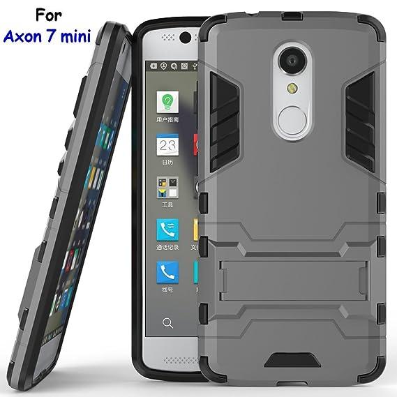 GerTong Axon 7 Mini Funda, 2 en 1 Doble Capa Armor Hard Slim Hybrid Kickstand Funda Carcasa para ZTE Axon 7 Mini (Gray Kickstand Case)