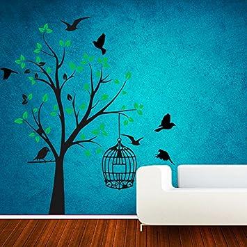 Decor Villa Bird and Tree Wall Sticker & Decal (PVC Vinyl,Size -58 cm x 78 cm) Wall Stickers at amazon