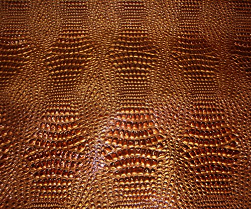 crocodile-leather-faux-vinyl-swamp-copper-metallic-embossed-shinny-upholstery-fabric-sold-bty-54-wid