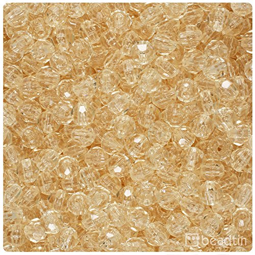 BeadTin Champagne Transparent 6mm Faceted Round Craft Beads (750pcs) (Champagne Transparent)