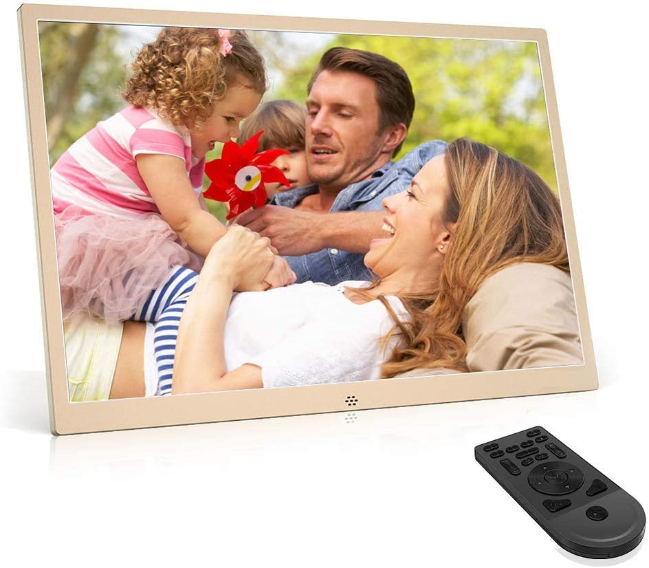 Music Support Photo Digital Picture Frame 17 inch Photo Frame,1440900 HD IPS Display Calendar with Built-in Speakers with Remote Control,Coolblack