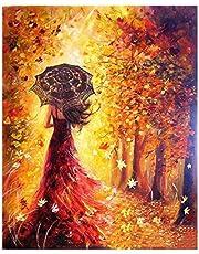 Digital Bricolaje Hermosa Chica Pintura al óleo para Colorear por números en Lienzo de Lino decoración de Arte de Pared (40 x 50 cm/15.75 x 19.69 Pulgadas)