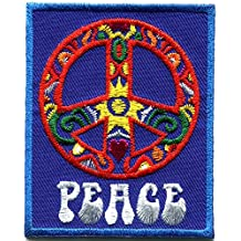 Peace sign hippie boho retro flower power love hippy embroidered applique iron-on patch