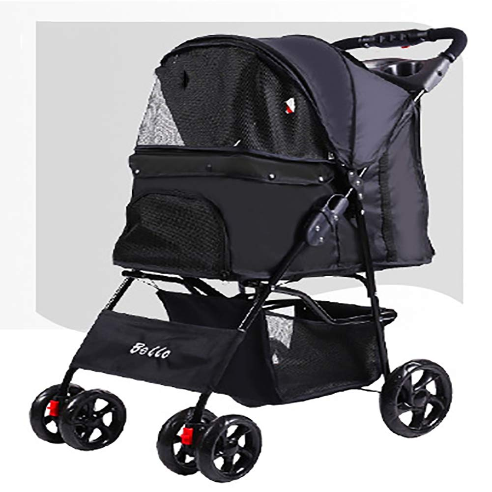 Black LOHUA Pet Stroller-4 Wheels Portable Zipperless Entry Waterproof with Storage Basket Black bluee Red